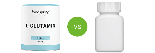 Tub of L-glutamine vs. competitor product